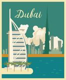Vector travel poster of United Arab Emirates in retro design. UAE template with modern buildings and mosque in light style. Vacations template Stock Photo