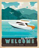 Vector Travel Poster in vintage style. Retro voyage illustration for advertising. Beautiful paradise cove with palm trees, ridge mountains, sea with boat.Travel Stock Photography