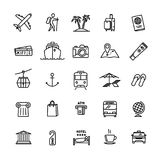 Vector travel related set of 25 light outline icons Stock Images