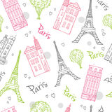 Vector Travel Romantic Paris Streets Seamless stock illustration