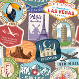 Vector Travel Stamps Colorful Texture Stock Photos