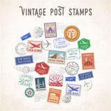 Vector Travel Stamps Design Stock Photo
