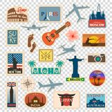 Vector travel sticker and label set with famous countries, cities, monuments, flags and symbols in retro or vintage. Style. Includes Italy, France, Russia, USA stock illustration