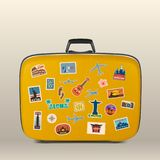 Vector travel stickers, labels with famous countries, cities, monuments and symbols on suitcase in retro vintage style. Isolated on white. Includes Italy Royalty Free Stock Photo