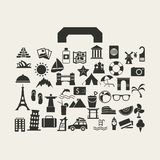 Vector travel suitcase with many icon Stock Photography