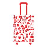 Vector travel suitcase with many icon Royalty Free Stock Photos