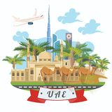 Vector travel template of United Arab Emirates with airplane. UAE flyer with modern buildings and mosque in light style. Royalty Free Stock Photo