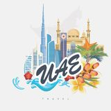 Vector travel template of United Arab Emirates with city view. UAE flyer with modern buildings and mosque in light style. Royalty Free Stock Photography