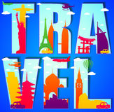 Vector Travel Text Concept with Famous Landmarks and Travel Objects Royalty Free Stock Images