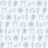 Vector travel to asia seamless pattern containing oriental contours: umbrellas, planes, suit cases, coins, lanterns, bonsai vector illustration
