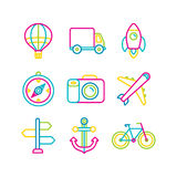 Vector travel and transportation icons Stock Photos