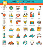 Vector Travel traveling flat line icon set. Modern elegant style design  for web. Royalty Free Stock Photography