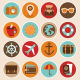Vector travel and vacation icons Stock Photo