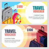 Vector travel voucher template. 3d isometric illustration of luggage bags. Banner, coupon, certificate, flyer layout. Vector travel voucher template. 3d Royalty Free Stock Images