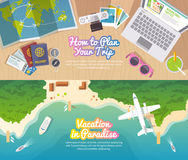 Vector travel web banner Stock Photography