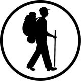 Vector traveller icon. Black and white. Simply change stock illustration
