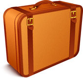 Vector traveller's brown leather suitcase Stock Photography