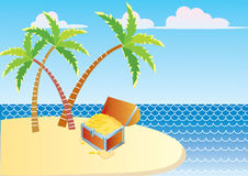Vector treasure chest and island Royalty Free Stock Photos