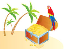 Vector treasure chest and parrote Stock Photo