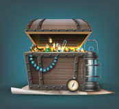 Vector treasure chest. Vector wooden treasure chest with jewelry, coins, gemstones and traveler`s attributes  on background Royalty Free Stock Photo