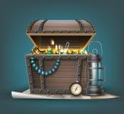 Vector treasure chest Royalty Free Stock Photo