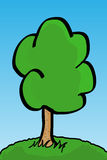 Vector tree. Vector image of tree over blue sky Royalty Free Stock Photo