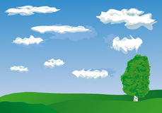 Vector tree. Vector image of tree over blue sky Royalty Free Stock Photography