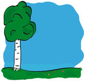 Vector tree. Vector image of tree over blue sky Stock Photos