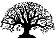 Vector tree in black and white Stock Images