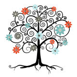Vector Tree in Blossom. Isolated on White Background Royalty Free Stock Photography