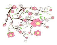 Vector tree branch with flowers Royalty Free Stock Photo