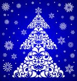 Vector tree. Christmas tree , snowflakes , floral pattern , blue background , snow, vector illustration Royalty Free Stock Images