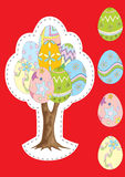 Vector tree with Easter eggs, and separately isolated eggs Stock Photos