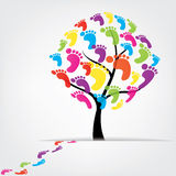 Vector tree, foot, paw, print Stock Photo