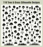 Vector Tree & Grass Silhouettes Set royalty free illustration