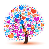 Vector tree with hearts Royalty Free Stock Photo
