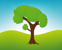 Vector tree in landscape Royalty Free Stock Photography