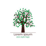 Vector tree logo concept. Vector logo design for ecology oriented projects. Detailed tree with green leaves. Beautiful and stylish vector illustration