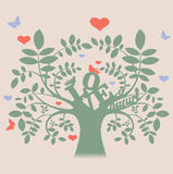 Vector tree with love message and birds Royalty Free Stock Image