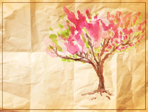 Vector tree painted on old crumpled paper Royalty Free Stock Photo