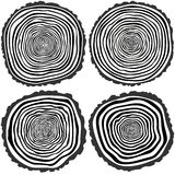 Vector tree rings background and saw cut tree trunk Stock Photos
