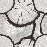 Vector tree rings set, concept of saw cut tree trunk, sawmill flat icons, wooden texture illuatration, seamless pattern Stock Photos