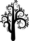 Vector tree silhouette. Black and white  tree with leafs and flowers Stock Photos