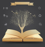 Vector tree silhouette on book Stock Photo