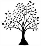 Tree Silhouette, Black and White Vector Shape stock illustration