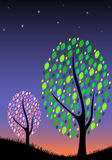 Vector of tree silhouettes on sunset sky Stock Photos