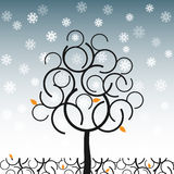 Vector tree in winter Royalty Free Stock Photos