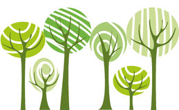 Vector trees. Abstract background with green vector trees Stock Image