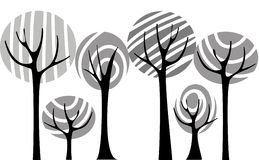 Vector trees. Abstract background with black vector trees Stock Photography
