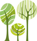 Vector trees. Abstract background with green vector trees Stock Photos